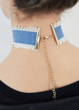Pizza Denim Choker Necklace View 2