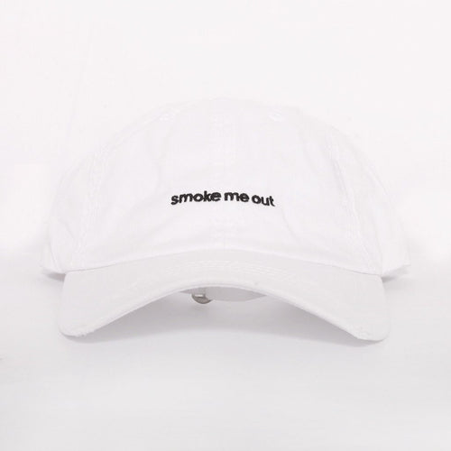 Smoke Me Out Dad Hat in White