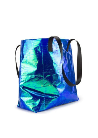 Blue Iridescent Shopper Bag