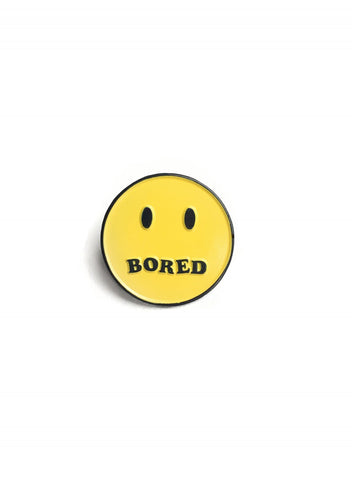 Bored Smiley Pin Badge
