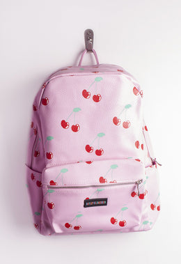 Faux Leather Cherry Backpack