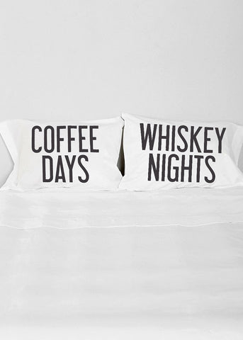 Coffee and Whiskey Pillow Case Set