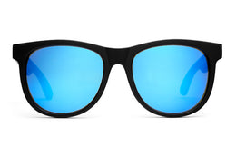 The Nudie Mag Sunglasses in Flat Black w/Reflective Blue Lenses