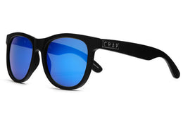 The Nudie Mag Sunglasses in Flat Black w/Reflective Blue Lenses View 2