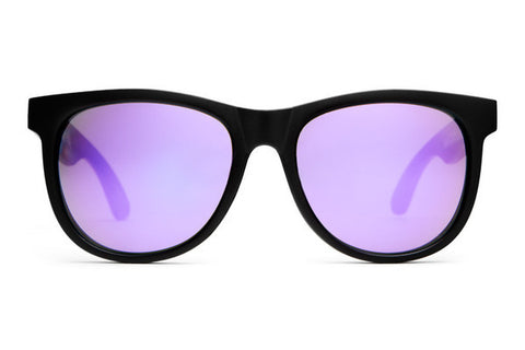 The Nudie Mag Sunglasses in Flat Black w/Reflective Purple Lenses