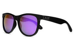 The Nudie Mag Sunglasses in Flat Black w/Reflective Purple Lenses View 2