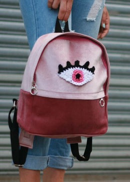 Pink Velvet Eye Backpack View 2