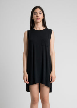 Easy Livin Pocket Shirt Dress in Black
