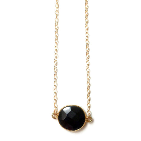 Black Onyx Pendant Gold Filled Necklace