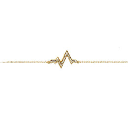Pave Heartbeat Bracelet in Gold