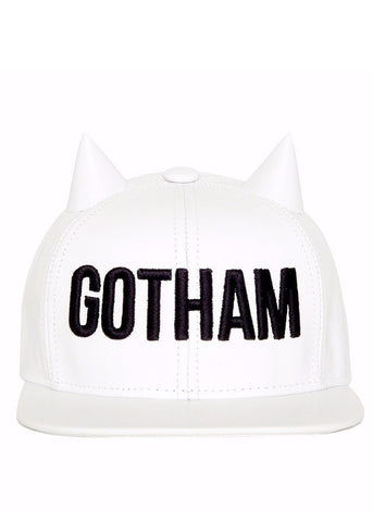 Gotham White Horned Snapback