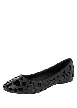 Black Heart Cutout Flats