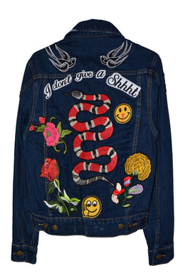 Don't Give A Patched Denim Jacket in Snake