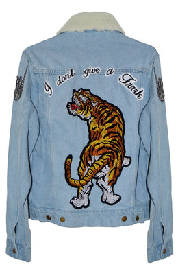 Don't Give A Patch Denim Jacket in Tiger