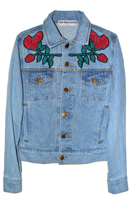 Don't Give A Patch Denim Jacket in Roaring Tiger View 2
