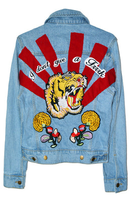 Don't Give A Patch Denim Jacket in Roaring Tiger
