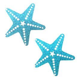 Bowie Blue Glitter Sexy Starfish Nipztix Pasties Nipple Cover by Neva Nude
