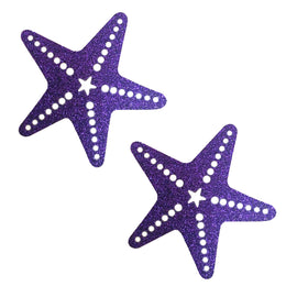Purple Rain Glitter Starfish Nipztix Pasties Nipple Cover
