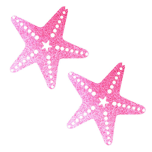 Sparkle Pony Pink Glitter Starfish Nipztix Pasties Nipple Covers