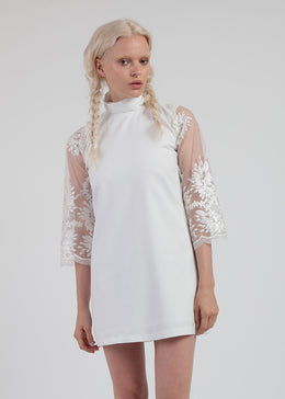 White Lace Mod 1960s Dress