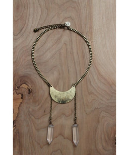 Crystal Moon Necklace in Gold View 2