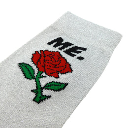 M.E. Rose Glitter Sock - Silver View 2