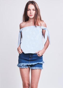 Layered Denim Shorts