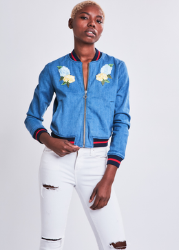 Jardin de fleurs Embroidered Denim Bomber Jacket View 2