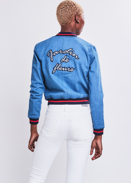 Jardin de fleurs Embroidered Denim Bomber Jacket
