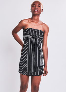 Striped Tie Front Strapless Dress