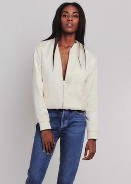 Girls of Brooklyn Bomber Jacket in Cream View 2