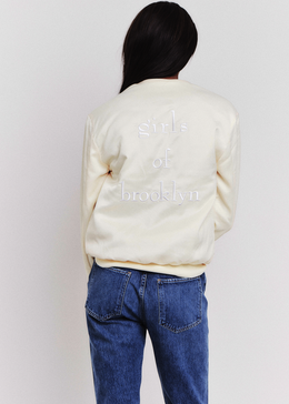 Girls of Brooklyn Bomber Jacket in Cream