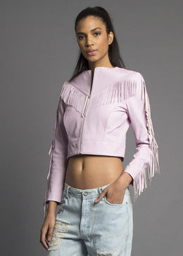 Till The End Lilac Fringed Leather Jacket View 2