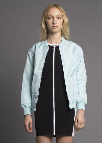Baby Blue Monochromatic Bomber Jacket