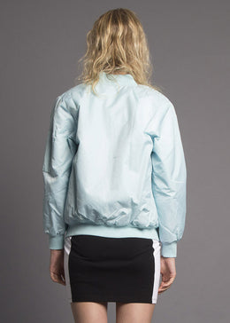 Baby Blue Monochromatic Bomber Jacket View 2