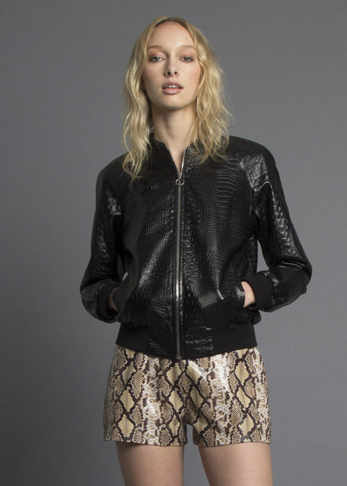 Faux Croc Leather Pray For Us Bomber