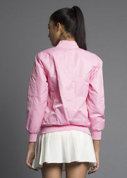 Monochromatic Bomber Jacket in Baby Pink View 2