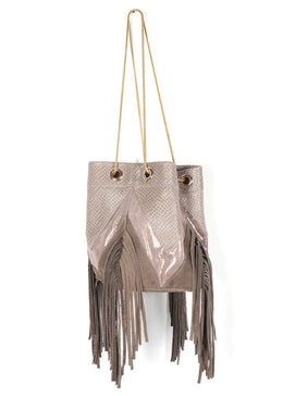 Olive Fringes Bucket Bag