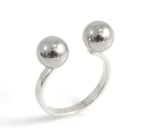 Lady Rebel Open Ring W/ Spheres-Silver