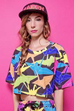 Neon Origami Crop T-shirt View 2