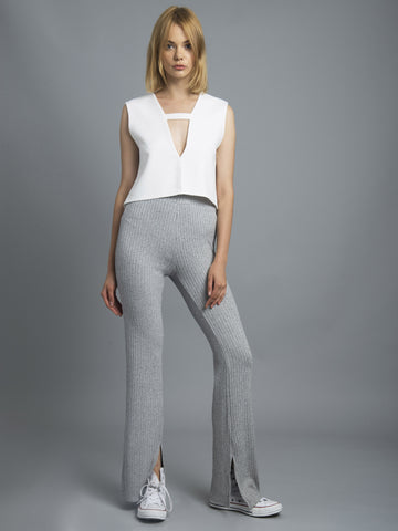 Salt & Pepper Knit Slim Flare