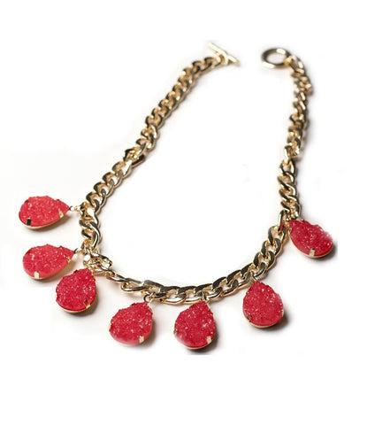 Pink Druzy Curb Chain Necklace