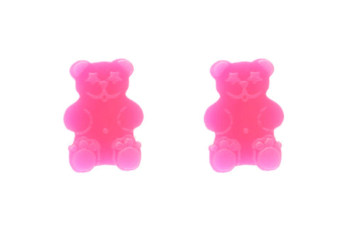 Gummy Bear Studs in Neon Pink