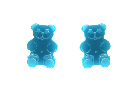 Gummy Bear Studs in Solid Turquoise