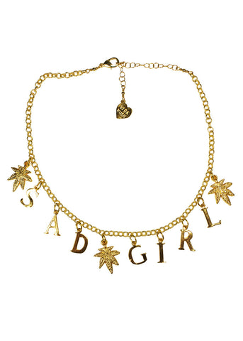 Sad Girl Choker in Gold