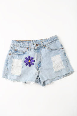 Flower Power Denim Shorts View 2
