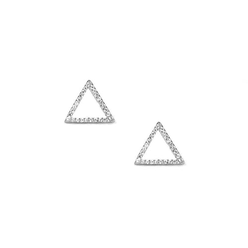 Pave Triangle Earrings in Silver