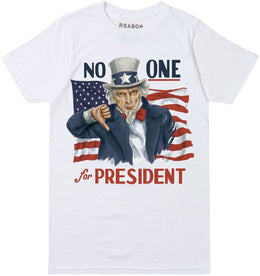No One For President Tee in White