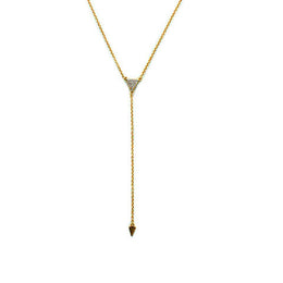 Pave Triangle Necklace in Gold View 2