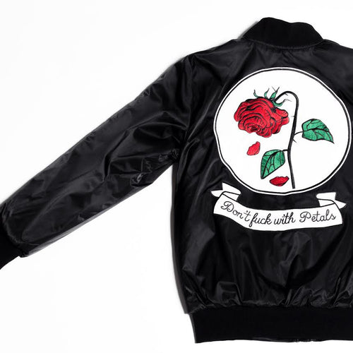 Don't F With Petals Reversible Bomber Jacket